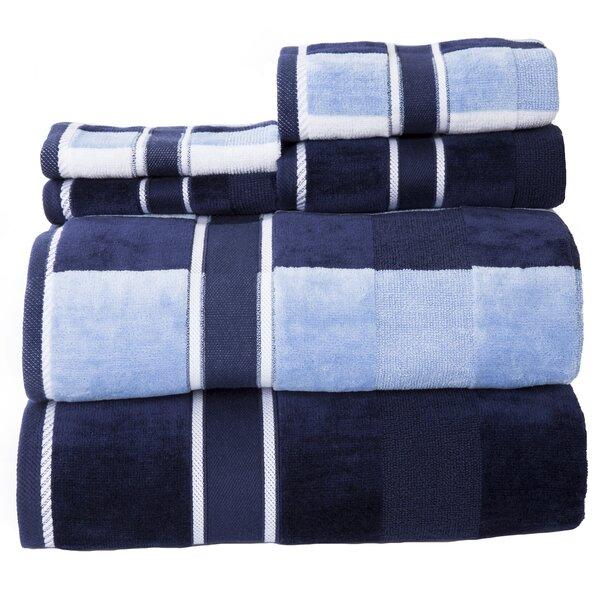 6pc LAVISH HOME Rio 100 Percent Cotton Towel SetGray//White