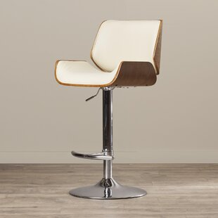 Burney Adjustable Height Swivel Bar Stool Wade Logan