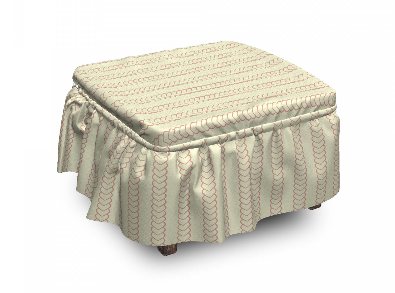 new style 98d74 5d5d2 Geometric Vintage Nautical Rope 2 Piece Box Cushion Ottoman Slipcover Set