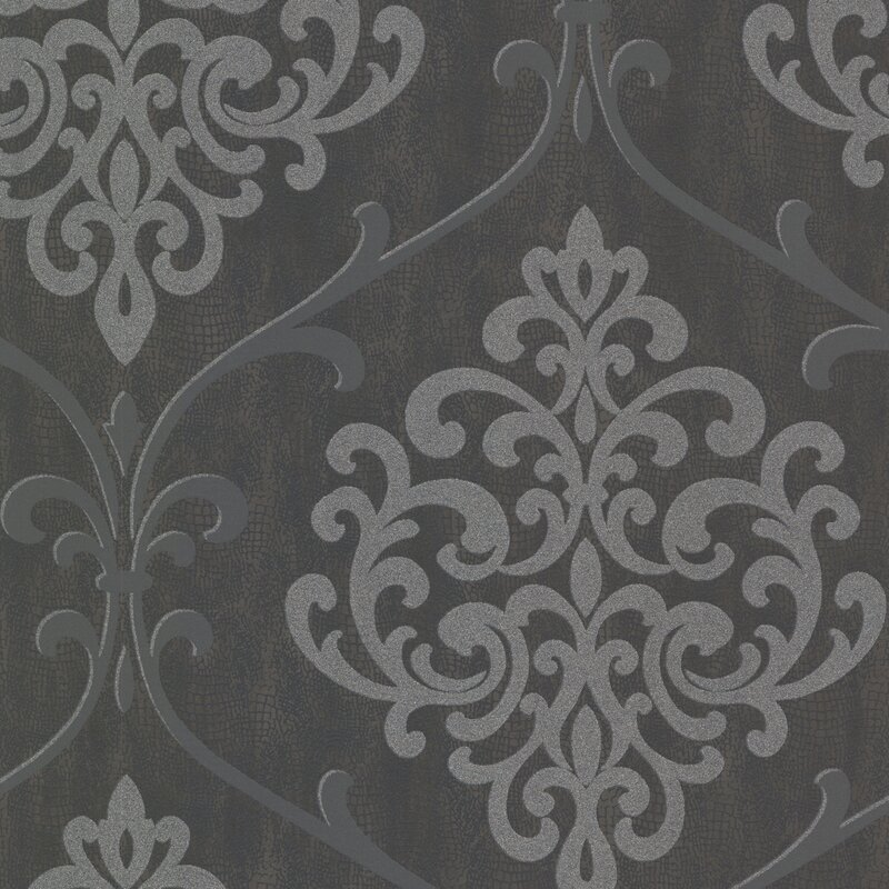 "Sparkle Ambrosia Glitter 33' x 20.5"" Damask 3D Embossed Wallpaper"