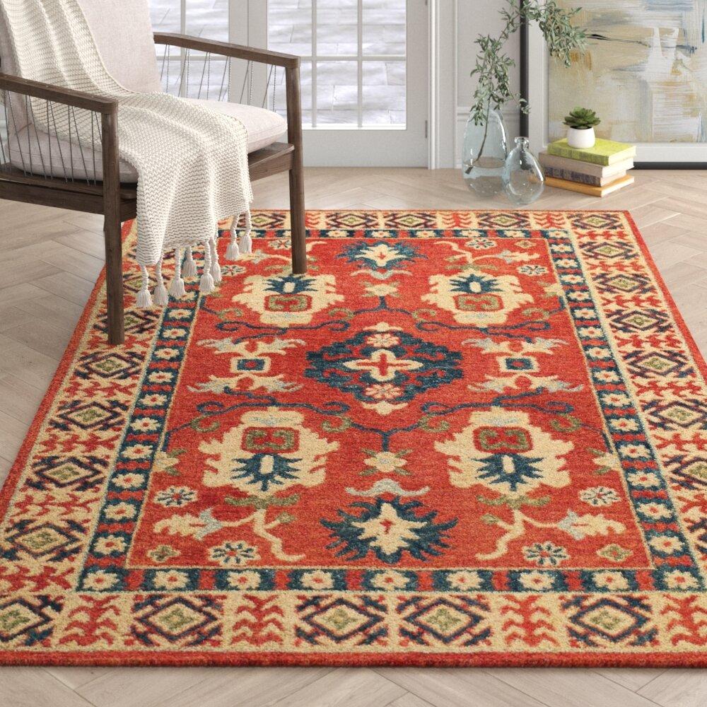 Alyssa Oriental Hand Hooked Wool Red Beige Blue Area Rug Reviews Joss Main