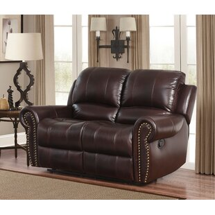 Shop Barnsdale Leather Reclining Loveseat by Darby Home Co