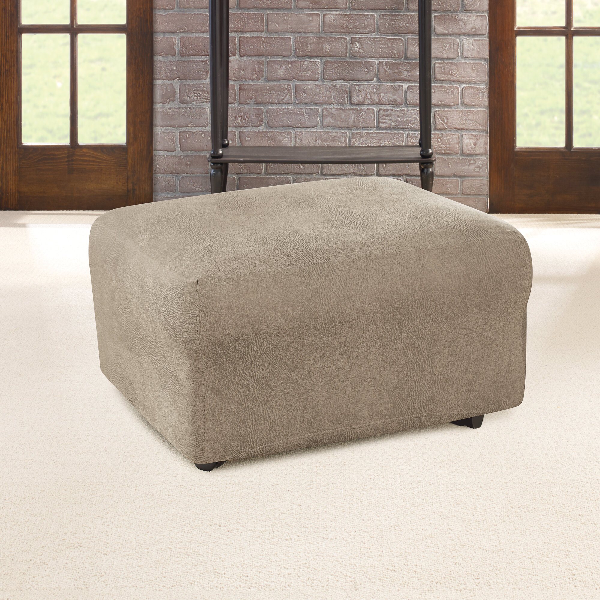 Sure Fit Ultimate Heavyweight Stretch Leather Box Cushion Ottoman Slipcover Reviews Wayfair