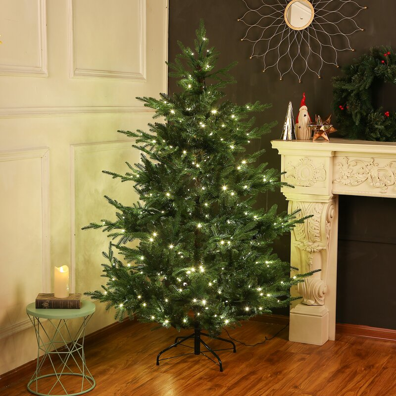 The Holiday Aisle 6 Inch Green Spruce Artificial Christmas Tree with 350 Warm White Lights