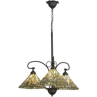 Meyda Tiffany Greenbriar Oak Willow Jadestone 3-Light Shaded Chandelier