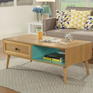 Christi Transitional Rectangular Wooden Coffee Table with Storage by Corrigan Studio