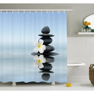 Clearance Spa Zen Massage Hot Stones with Asian Frangipani Plumera Reflection on Water Shower Curtain Set ByAmbesonne
