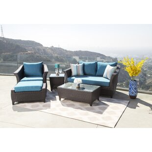 Lemanski 5 Piece Rattan Sunbrella Sofa Set with Cushions