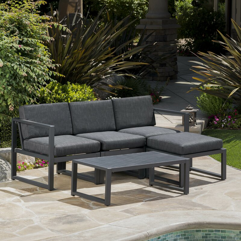 Denisse Outdoor 5 Piece Sectional Set With Cushions