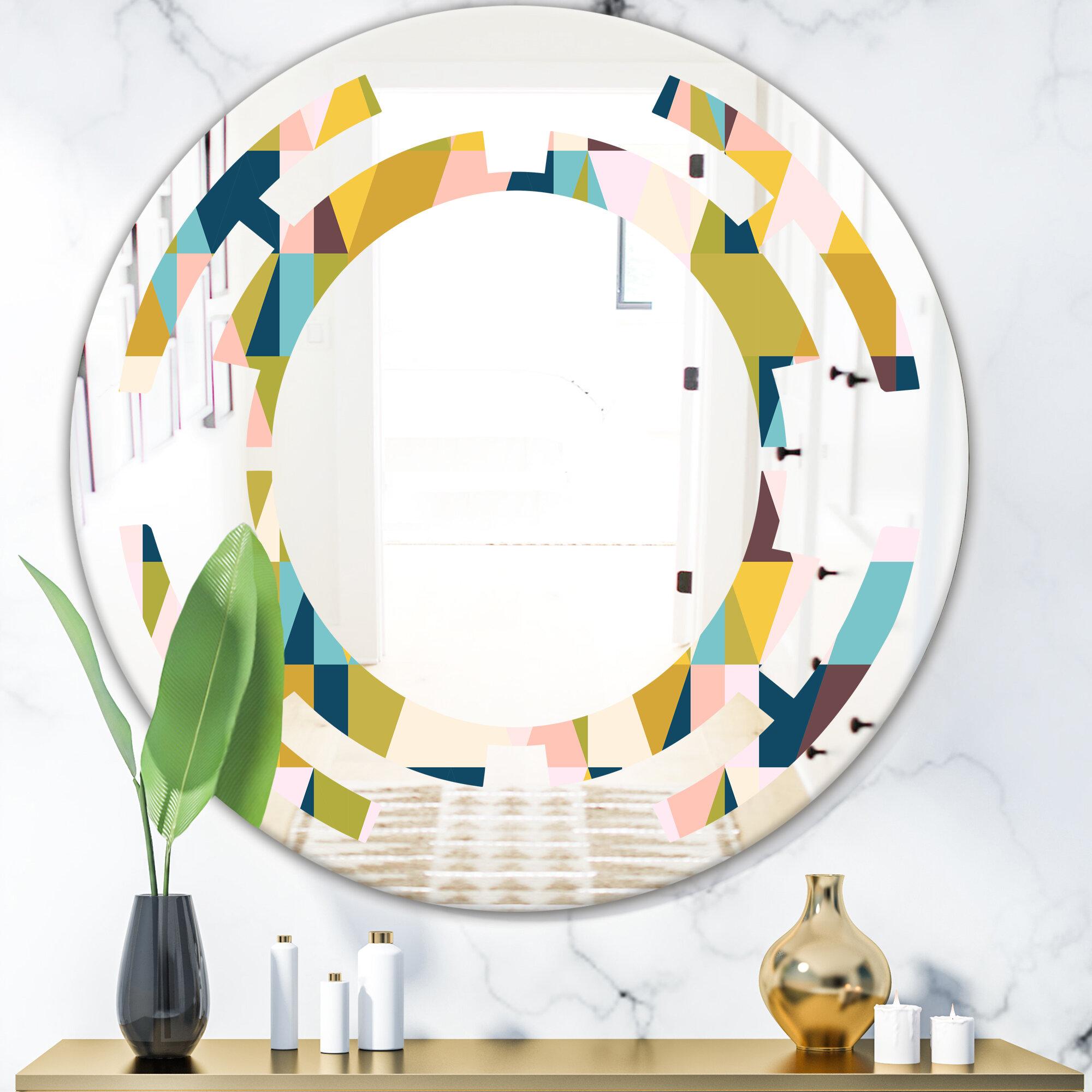East Urban Home Space Triangular Design I Modern Frameless Wall Mirror