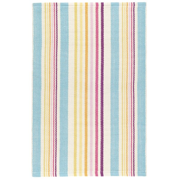 Dash And Albert Rugs Striped Handmade Flatweave Shag Cotton Blue Yellow Pink Area Rug Perigold