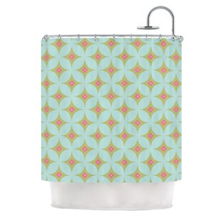 Retro Aquamarine Single Shower Curtain