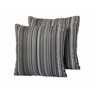 Silverman Stripe Square Outdoor Throw Pillow (Set of 2)