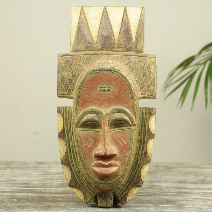 Fia African Tribal Chief Wood Wall Mask Carved Wall Décor