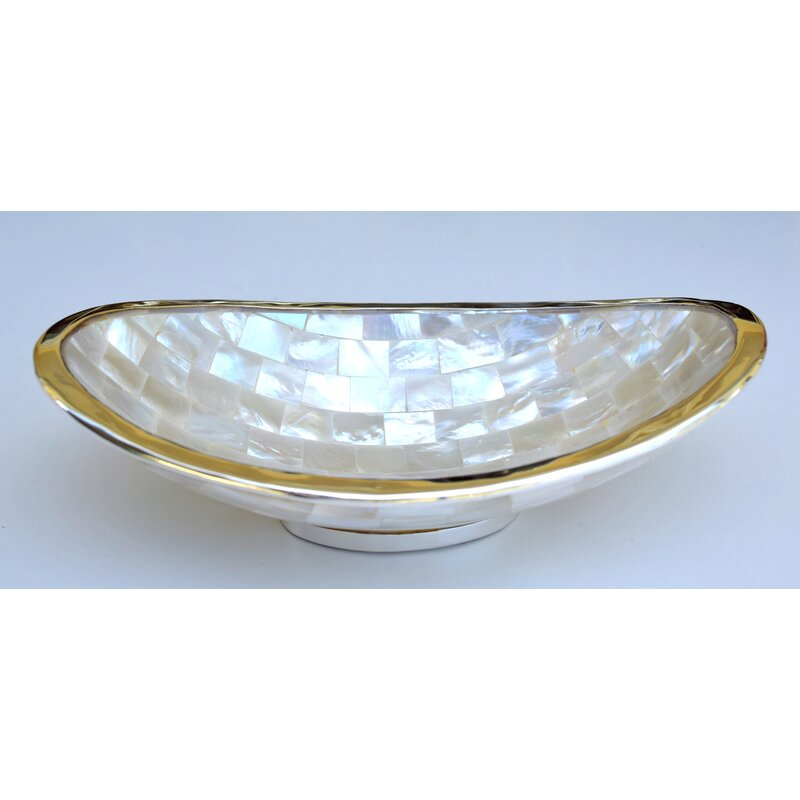 Seabeck Long Oval Laminated Mother Of Pearl Decorative Bowl