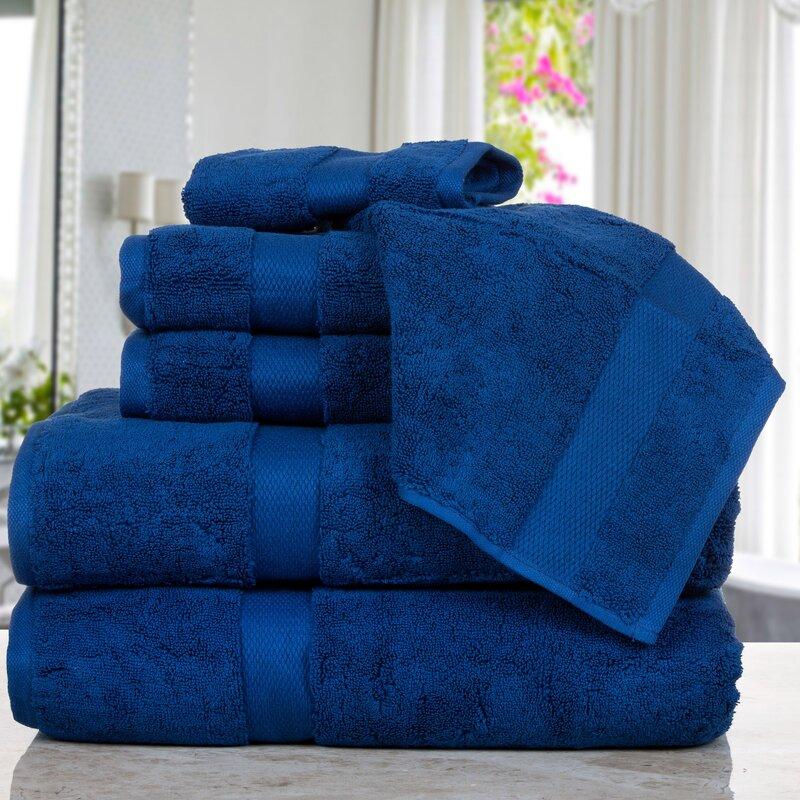 Affinity Linens Madhvi Premium Quality Luxury 6 Piece Cotton Towel Set  Color: Navy