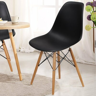 Patio Dining Chair AdecoTrading Finish: Black
