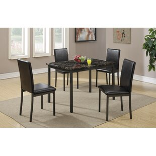 Ebern Designs Chilson Faux Marble and Metal Frame 5 Pieces Dining Set