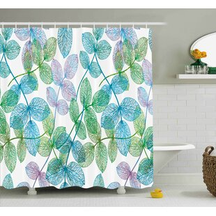 Keaton Flowers Leaves Ivy Ombre Shower Curtain + Hooks
