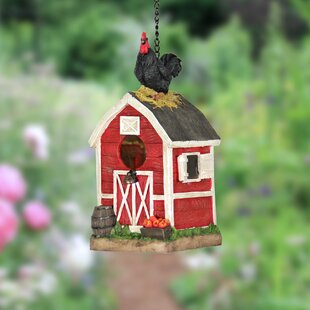 Exhart Rooster on Barn 11.8 in x 6 in x 5.7 in Birdhouse