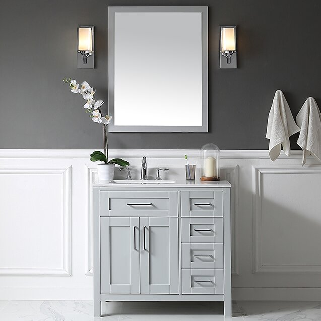 Tahoe 36  Single Bathroom Vanity Set with Mirror in Dove Gray Ove Decors