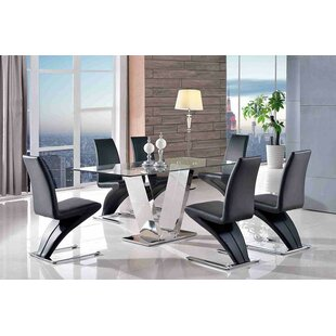 Beudan Steel And Glass Dining Set With 6 Chairs ...