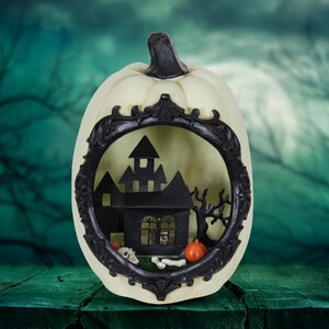 Pumpkin Statue with LED Haunted Mansion Scene Lighted Display