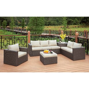 Hague 5 Piece Rattan Sofa Seating Group with Cushions