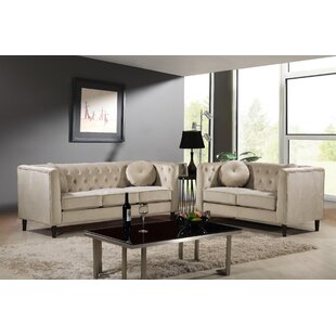 Kitts Classic Chesterfield 2 Piece Living Room Set by Everly Quinn