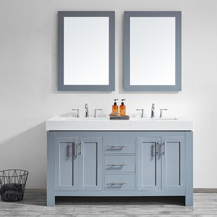 Neva 60 Double Bathroom Vanity Set with Mirror by Wrought Studio