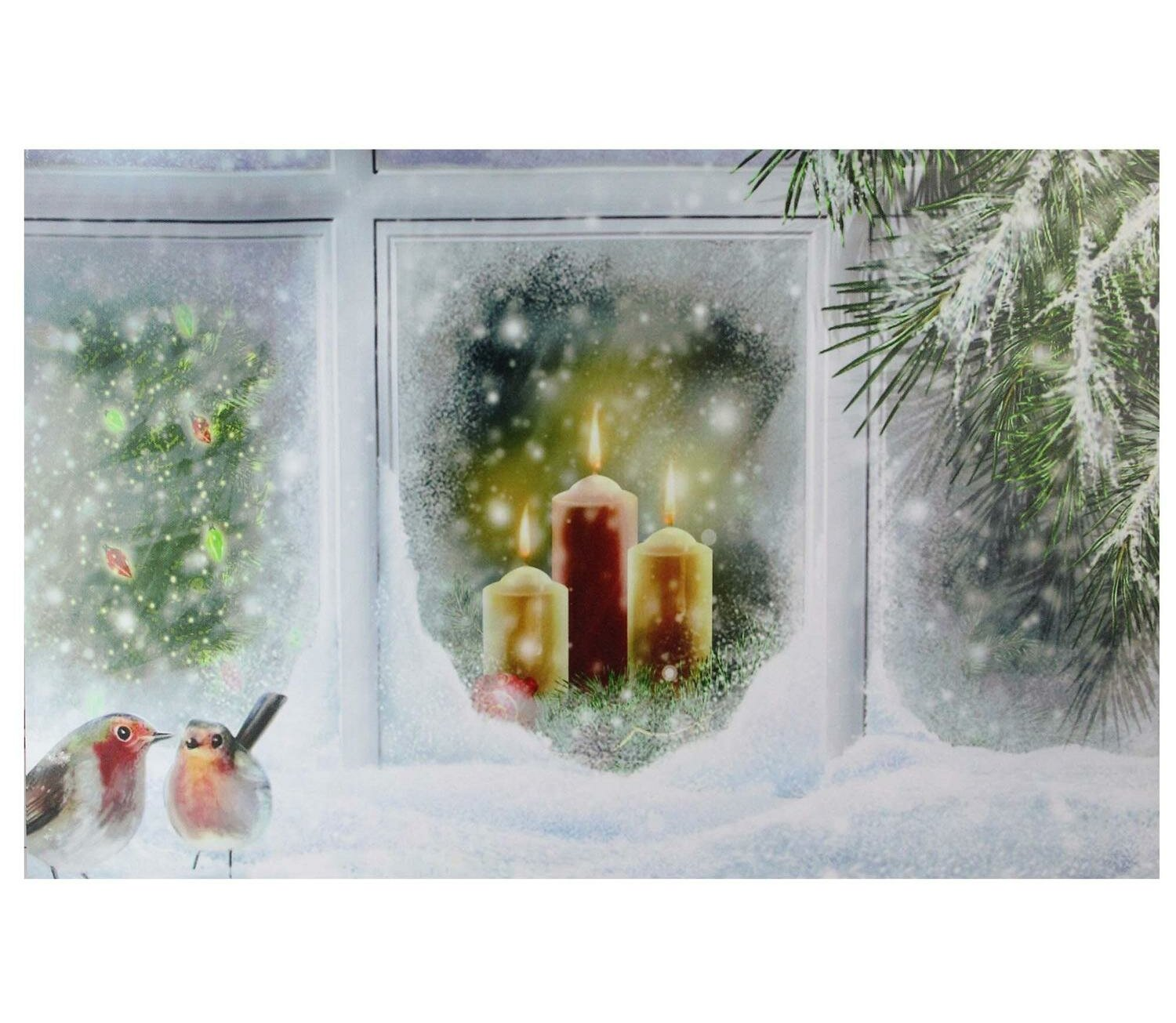 Northlight Led Lighted Snowy Window Pane And Candles Christmas Print On Canvas Reviews Wayfair