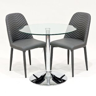 Cypress Glass Dining Set With 2 Chairs By Metro Lane