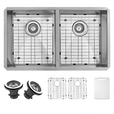32 Inch Undermount 50/50 Double Bowl 16 Gauge Stainless Steel Kitchen Sink