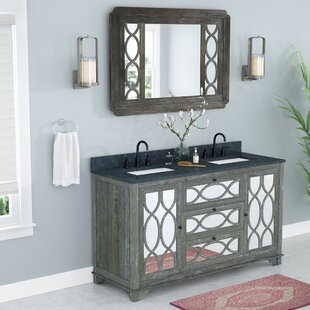 Redondo Solid Elm 60 Double Bathroom Vanity Set with Mirror by Rosecliff Heights