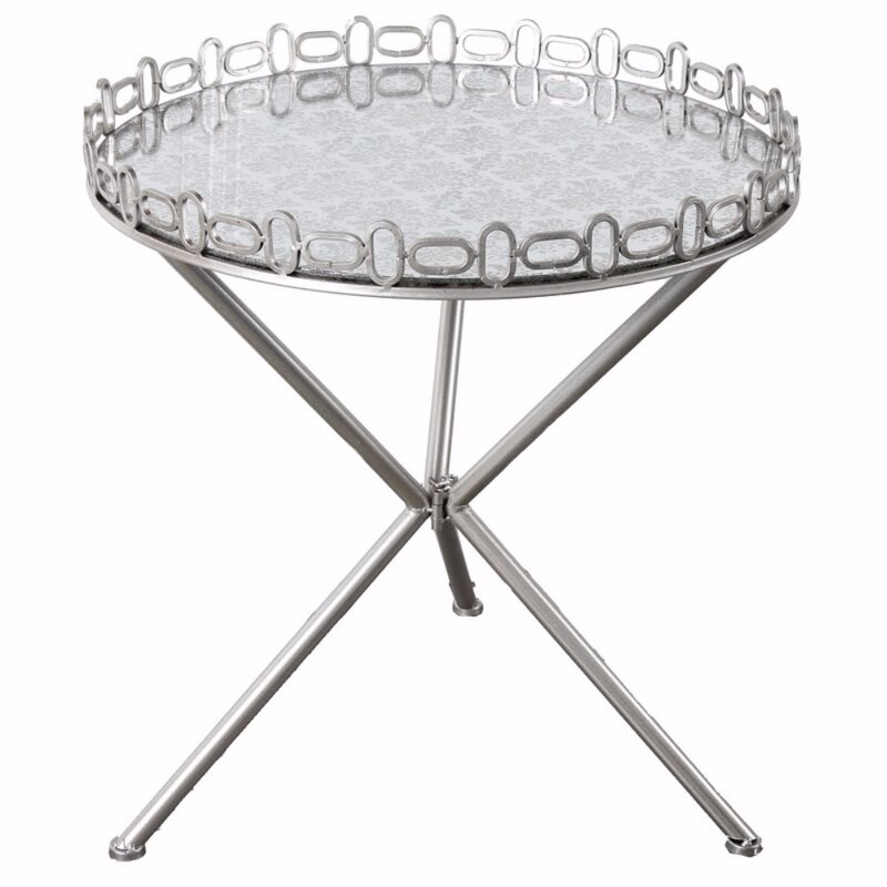 Great Van Cleef Chic Mirrored Tripod End Table