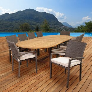Kelemen 11 Piece Teak Dining Set with Cushions