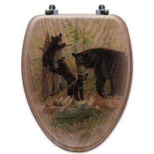 WGI-GALLERY Playtime Bears Oak Elongated Toilet Seat