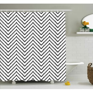 Karyn Modern Geometric Triangle Zig Zag Triggering Lines Minimalist Pattern Decor Single Shower Curtain