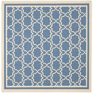 Look for Short Intricate Blue/Beige Indoor/Outdoor Area Rug Great deals