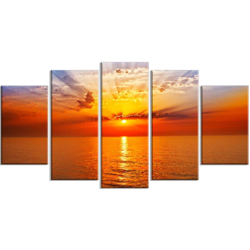 Designart Orange Sea Sunrise Under Blue Sky 5 Piece Wall Art On Wrapped Canvas Set Reviews Wayfair