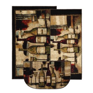 Ayers Village Wine and Glasses Area Rug (Set of 3)