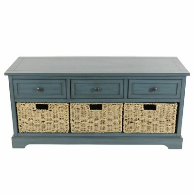 Ardina Wood Storage Bench Color: Antique Navy by Beachcrest Home