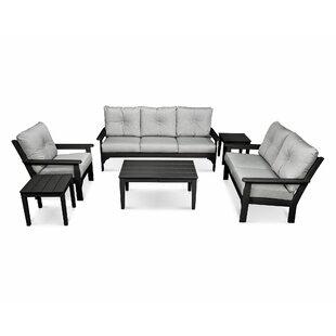 POLYWOOD® Vineyard 6 Piece Sunbrella Sofa Set with Cushion
