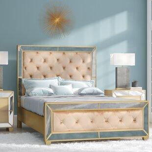 image great mirrored bedroom furniture. Alasdair Mirrored Upholstered Platform Bed Image Great Bedroom Furniture
