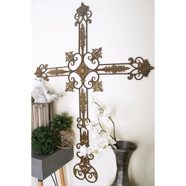 Metal/Wood Wall Décor - Fleur de List cross walla rt
