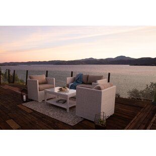 Lagoon 4 Piece Sofa Seating Group with Sunbrella Cushions