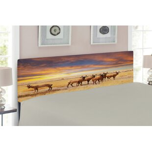 Safari with Antelopes on Grassland Upholstered Panel Headboard