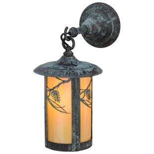 Greenbriar Oak 1-Light Outdoor Wall Lantern By Meyda Tiffany Outdoor Lighting