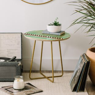 Allyson Johnson Mint Stripes And Arrows End Table by East Urban Home