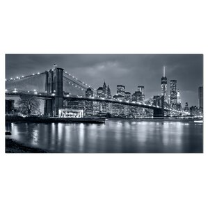 Panorama New York City at Night Cityscape Photographic Print on Wrapped Canvas